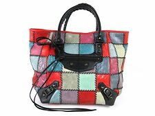 Auth BALENCIAGA The Sunday Hand Bag 228750 Patchwork Leather Multi-Color 36162