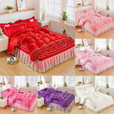 Lace Soft Comfortable Bed Skirt Princess Bedspread Bedding Sheets Quilt Covers