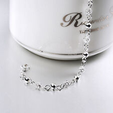 925 Silver Filled Hollow Flower Pattern Ball Chain Bangle Cuff Bracelet Jewelry