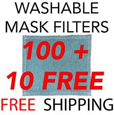 100 Mask Filter Insert Refills BULK - Washable Reusable