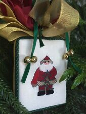 Santa Claus Completed Cross Stitch Old Fashioned Xmas Ornament 3D Box OOAK Bow