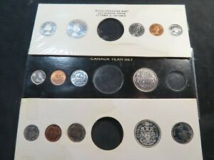 P1 Canada 1953 1959 & 1960 BU Mint Sets Missing Silver Dollars 3 Sets Total
