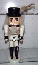 """Vintage 8 1/2"""" Wooden Nutcracker Soldier Erzgebirge? White Uniform with Saber"""