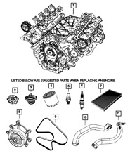 Genuine MOPAR Water Pump 53022189AH