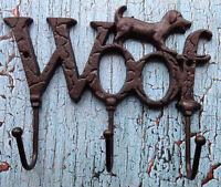 Cast Iron Dog Wall Hook Key Holder Leash Holder Woof Sign with 3 hooks Pet Decor