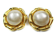 Authentic Chanel Vintage Gold Tone, Faux Pearl Clips Earrings Ca11703L