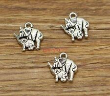 20pcs Elephant Charms Baby and Mother Elephant Charms Antique Silver 14x15 2984