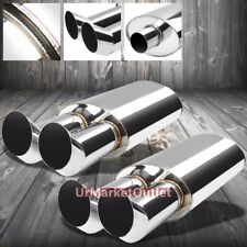 2x SS 2.50 Inlet/3.00 Chrome Oval Dual Bent Tip Stainless T304 Exhaust Muffler