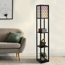 Modern Shelf Floor Lamp Light with 4-tier Open Shelves Wooden