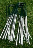 Artificial Grass Pins Green Galvanised Metal U Pegs Membrane Fabric Staple x 50