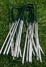 50 x Half Green Artificial Grass Turf U Pins Metal Galvanised Pegs Staples Weed