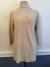 14/16 Avenue Women's Plus Size Tan V-Neck Cable Knit Sweater Very Soft 3/4 Sleev
