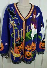 Storybook Knits Halloween Witch Pumpkin Cardigan Sweater Sz S M 10 12 Nice #G