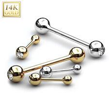 14 Karat Gold Zungenpiercing mit Zirkonia