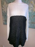 Nordstrom Lumiere Woven Color Block Sweater black white Large