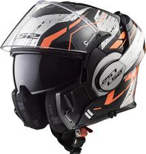 Ls2 casco moto abatible Ff399 Valiant Roboto negro naranja Chrome m