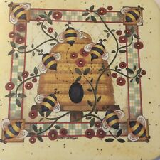 2 Beehive Longaberger Coasters With Lots Of Bees Buzzing Around The Beehive