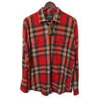 Brand New Filson Scout Shirt Red Black Flame Plaid Cotton Twill Size Medium M