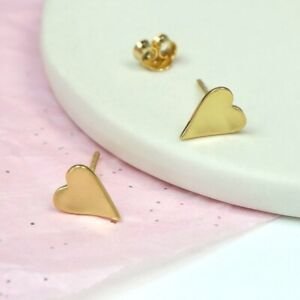 Gold plated concave heart stud earrings with satin finish
