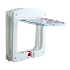 Waterproof Plastic 4 Way Cat Dog Small Pet Locking Door Flap White