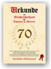 Gnadenhochzeit Urkunde zum 70. Hochzeitstag Geschenkidee Gnaden Hochzeit NEU