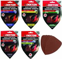 Dekton Detail Palm Sanding Pads Triangle Sheets 40 60 80 120 Or Mixed Grit 140mm