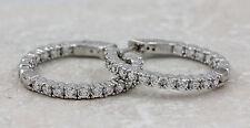 925 Sterling Silver Cubic Zirconia Hoop Earrings, 6.34g NEW #00003988