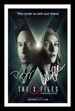 THE X-FILES - DAVID DUCHOVNY GILLIAN ANDERSON SIGNED & FRAMED PP POSTER PHOTO