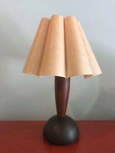 Vintage Currey and Company Wood Desk Lamp w Unique Parchment Clover Shade