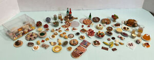 VTG Food Dished & Single Most Handcrafted Some Signed Dollhouse Miniature 1:12