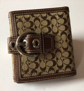 Vintage COACH Brown Tan Leather Signature Jacquard Soho Buckle ID Bifold Wallet