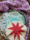 BEAUTIFUL+HAND+MADE+LOT+OF+5+VINTAGE+CROCHET+DOILIES%2C+pot+holders+and+apron