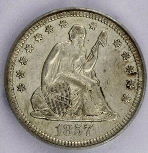 1857-O 1857 Seated Liberty Quarter ICG AU50