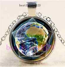 Earth in Dodecahedron Crystal Cabochon Glass Silver Chain Pendant Necklace