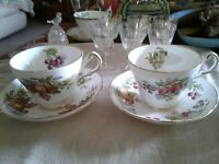 VINTAGE ALLYN NELSON COLLECTION BONE CHINA TEA CUP AND SAUCERS ~ Pears and Plums