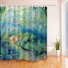 Mermaid In Green Seaside Waterproof Bathroom Fabric Shower Curtain  &12 Hooks