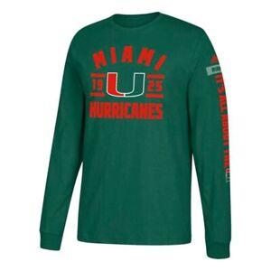 "Miami Hurricanes NCAA Adidas Men's Dark Green ""Schooled"" Long Sleeve T-Shirt"