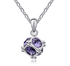 Fashion Womens Cube Purple Crystal Rhinestone Silver Chain Pendant Necklace NEW