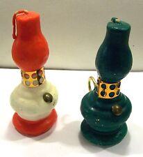 Pair Vintage Christmas Hurricane Candles