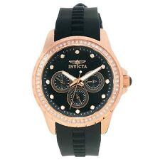 Invicta Women's Angel Chrono Rose Gold Plated Black Polyurethane Watch 21902