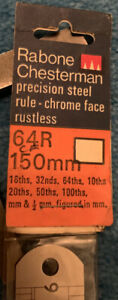 "Rabone Chesterman Vintage 6"" Precision Steel 64R Rule,1/16,1/32, 1/64, 10-100ths"