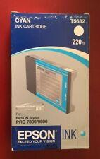 02-2008 NIB  GENUINE EPSON T5632 220ML CYAN INK STYLUS PRO 7800 9800 AS T6032