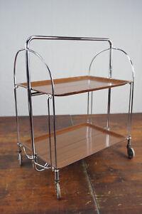 Dinett Serving Trolley Tea Table Walnut 60er Side BAR Chrome 70er A2