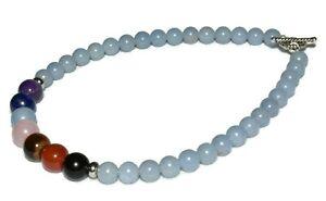 Angelite Chakra Stones Anklet Bracelet Crystal Healing Natural Gemstones 6-8mm