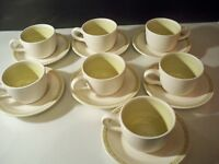 7  VINTAGE FRANCISCAN GREEN HACIENDA '' EARTHENWARE CUP AND SAUCER SETS
