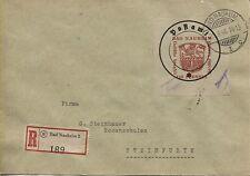 Lokal Bad Nauheim 8 II  mit PF III auf R-Brief nach Steinfurth (B04552)