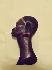 """Wood Carved Wall Decor African Woman Head Face Profile Tribal Art 7"""""""