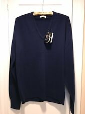 Cox Moore V-Neck Sweater Navy 100% Lambswool, Superwash Wool, Made In England 44