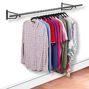 Black Wall Mounted Garment Clothes Rail Hanging Shop Display Tubing Rack
