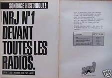 PUBLICITÉ SONDAGE HISTORIQUE NRJ N°1 DEVANT TOUTES LES RADIOS LES - DE 50 ANS